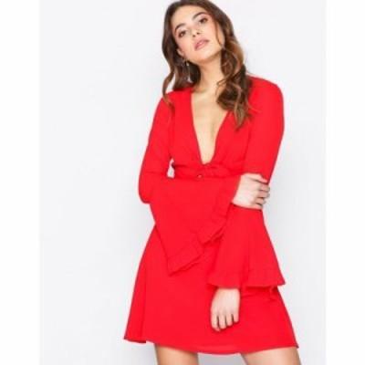 ミスガイデッド パーティードレス tie front tea dress Red