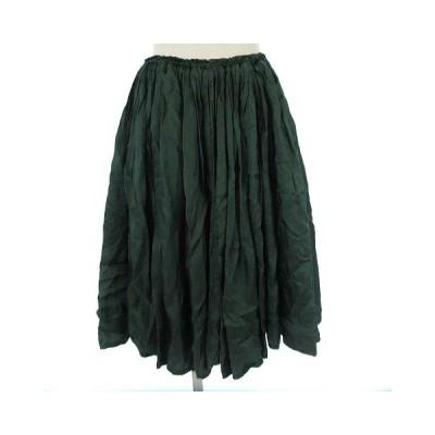【中古】ミュベール muveil スカート フレア ギャザー ゴムウエスト ミモレ ひざ丈 膝丈 グリーン 緑 38 ●IBS77 レディース 【ベクトル 古着】