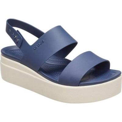 クロックス Crocs レディース サンダル・ミュール ウェッジソール シューズ・靴 Brooklyn Wedge Slingback Navy/Stucco