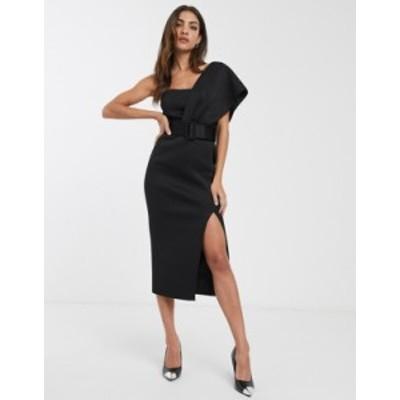 エイソス レディース ワンピース トップス ASOS DESIGN one shoulder belted midi pencil dress in black Black