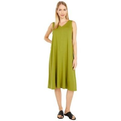 エイリーンフィッシャー レディース ワンピース トップス V-Neck Calf Length Flare Dress