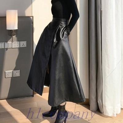 レザースカートレディースフレアAラインスリットレザースカートミモレ丈ロングスカート黒韓国ファッション