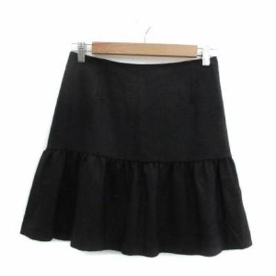 【中古】アルファエー αA スカート フレア 台形 ミニ丈 切替 36 ブラック 黒 /YM31 レディース
