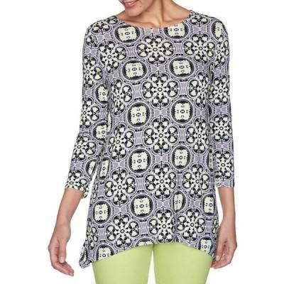 ルビーアールディー レディース Tシャツ トップス Vibrant Geo Foulard Print 3/4 Sleeve Handkerchief Hem Tunic Top