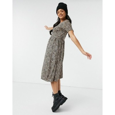 ウェンズデーガール レディース ワンピース トップス Wednesday's Girl midi smock dress in leopard print