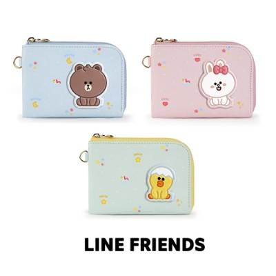 【Line friends】ラインフレンズ・ミニブラウンアンドフレンズレザーパッチカードポケット / Mini brown and friends leather patch card pocket
