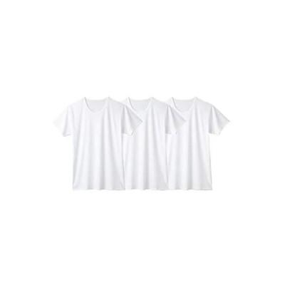 [nissen(ニッセン)] インナーシャツ 丸首・クルーネック 下着・インナー 吸汗速乾・接触冷感メッシュ半袖丸首インナー3枚組 白3枚組 LL