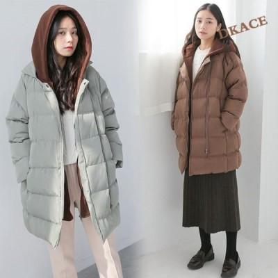 中綿コート 中綿ジャケット レディース コート 中綿ダウンコート レイヤード風 フード付き ロングコート 秋 冬 防寒 アウター