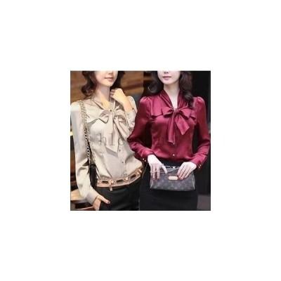 シフォンリボン付ネックサマーニット/トップス/シンプル/シャツ/大人/カジュアル/ファッションとろみシャツ/ブラウス/ママ入園式卒業式