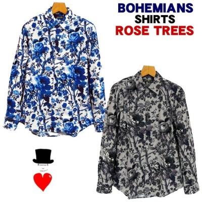 Bohemians (ボヘミアンズ)プリントシャツ 「ROSE TREES」ローズツリーズ 絵画のようなバラのデザイン オリジナル素材  日本製 送料無料