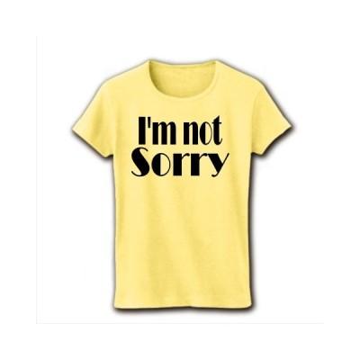 I'm not Sorry リブクルーネックTシャツ(ライトイエロー)