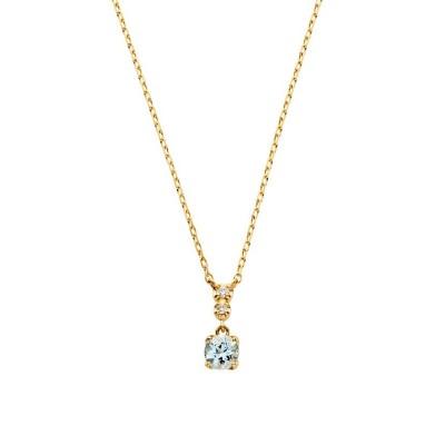 【ヴイエーヴァンドームアオヤマ】 K18YG ダイヤモンド0.010 CT アクアマリンネックレス レディース ブルー F VA VENDOME AOYAMA