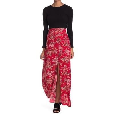 ソーシャライト レディース スカート ボトムス Smocked High Waisted Side Slit Skirt BLACK FLOR
