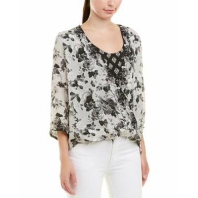 Tolani トラーニ ファッション トップス Tolani Christelle Floral Silk Blouse S Beige
