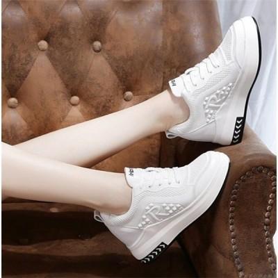 スニーカーレディースインソール厚底ハイカット靴美脚シューズ婦人靴夏白切り替えカジュアル