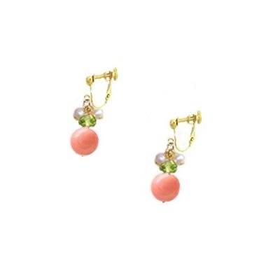 華やか マルチジェム ペリドット 真珠 サンゴ 珊瑚 イヤリング レディース マルチカラー 贈り物 女性 プレゼント ラッピング コーラル