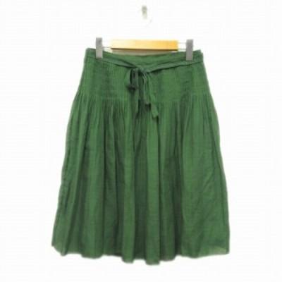 【中古】アデュートリステス ADIEU TRISTESSE プリーツ フレア スカート 膝丈 ベルト 38 グリーン 緑 レディース