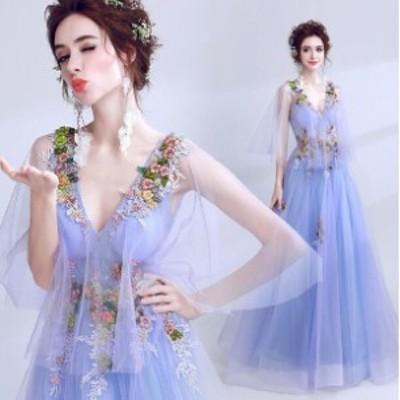 ウェディングドレス パーティドレス 着痩せ 花柄 二次会 結婚式 司会者 披露宴 花嫁  膝丈 Vネック