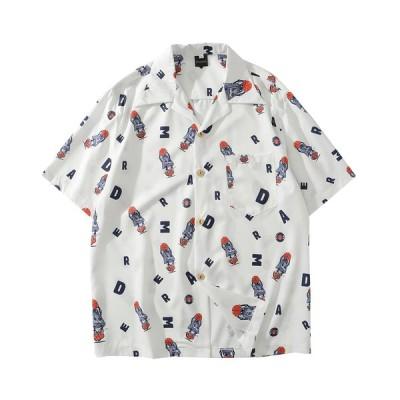 シャツ レディース 花柄 半袖シャツ 大きいサイズ プリント 薄手 ビーチ リゾート ゆったり 夏 大きいサイズ 軽量 速乾 祭り