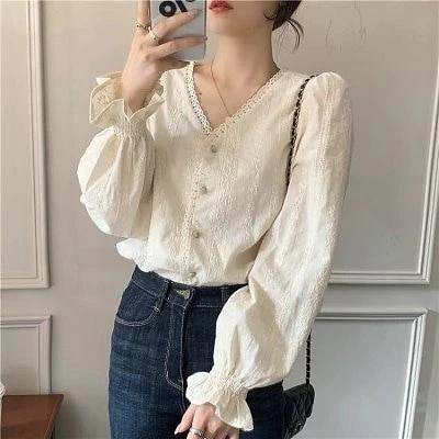 韓国ファッション 春夏 ブラウス 女性らしい一枚でお洒落レディーストップス フリルパフスリーブ袖  無地シャツ シンプル 体型カバーにぴったりTシャツ