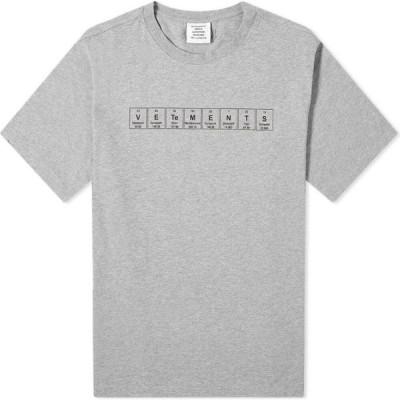 ヴェトモン VETEMENTS メンズ Tシャツ ロゴTシャツ トップス Chemical Logo Tee Grey Melange
