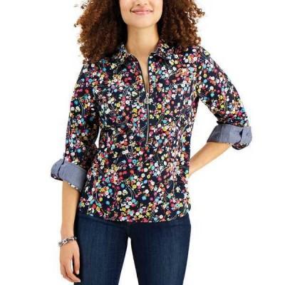 トミー ヒルフィガー カットソー トップス レディース Cotton Printed Utility Shirt Dolly Daisy- Sky Captain Multi