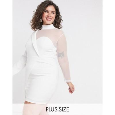 インザスタイル ドレス 大きいサイズ レディース In The Style Plus x Saffron Barker asymmetric mesh tailored mini dress in white エイソス ASOS ホワイト