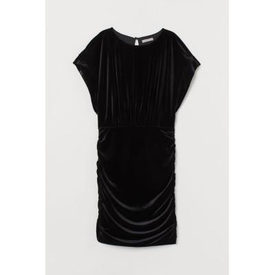H&M - ベロアワンピース - ブラック