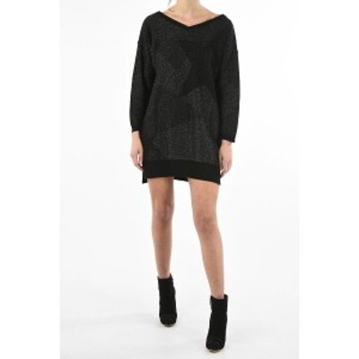 DIESEL/ディーゼル Black レディース v-neck long sleeve lurex mini M-STARRY dress dk