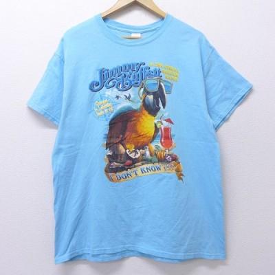 L/古着 半袖 ロック バンド Tシャツ ジミーバフェット オウム コットン クルーネック 薄紺 ネイビー 20jun26 中古 メンズ