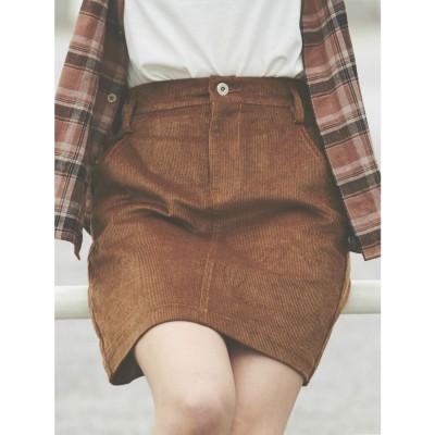 リゼクシー RESEXXY コーデュロイスカート (ブラウン)