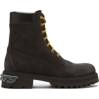 ヴェトモン Vetements メンズ ブーツ シューズ・靴 Logo-applique nubuck trucker boots Black