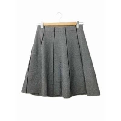 【中古】ザラ ベーシック ZARA BASIC スカート フレア ミニ XS 伸縮性 グレー 黒 ブラック レディース