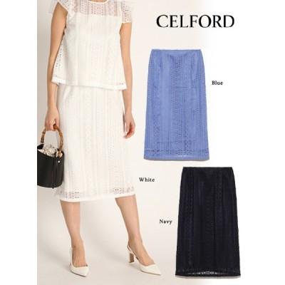 60%OFF CELFORD  セルフォード ストライプレーススカート  20春夏. CWFS202021 フレアスカート