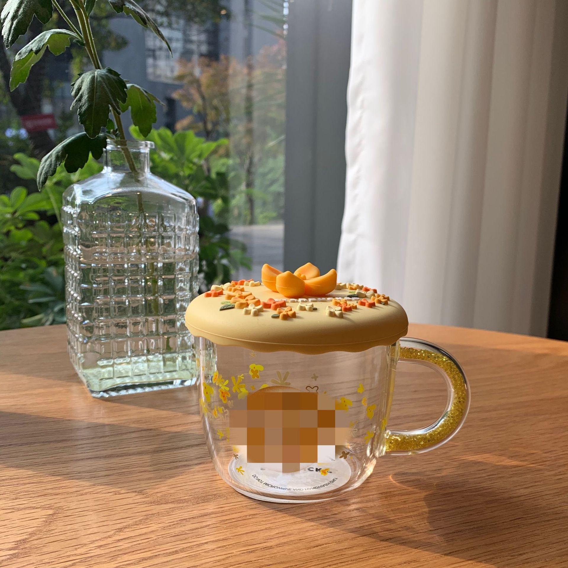 星巴陶瓷杯桂花季金色桂花杯硅膠杯蓋耐熱玻璃杯咖啡杯創意馬克杯