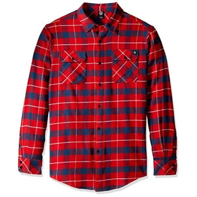 Neff Elliot Long Sleeve Flannel Button Up Shirt Red L ネルシャツ