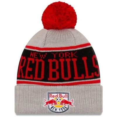 ユニセックス スポーツリーグ サッカー New York Red Bulls New Era Stripe Cuffed Knit Hat with Pom - Gray - OSFA 帽子