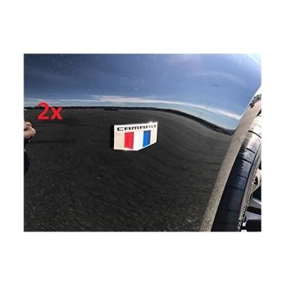 Yoaoo 2?x OEM Camaro Mエンブレムバッジフロント右左フェンダー3d for Chevrolet Camaro Ss Rs zl1クロームブラック【
