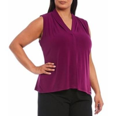 カルバンクライン レディース Tシャツ トップス Plus Size Solid Matte Jersey V-Neck Sleeveless Top Dark Purple