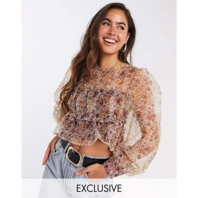 ファッションユニオン Fashion Union レディース ブラウス・シャツ トップス blouse with smocking and puff sleeves in floral organza ブラウンフローラル