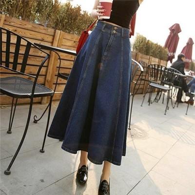 スカートデニムスカートロング丈マキシAラインロングスカートゆったり冬秋レディースフレア大きいサイズゆったり着痩せ激安
