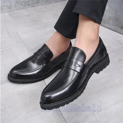 メンズ ビジネスシューズ 革靴 プレーントゥ 紳士靴 フォーマル シューズ 快適 靴  歩きやすい通勤 リクエスト 無地 ハイカットシューズ AlohaMahalo