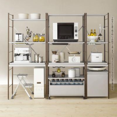 家具 収納 キッチン収納 食器棚 キッチンストッカー 食品ストッカー 大型レンジ対応レンジ台 ワゴン付きレンジラック 幅60cm 550537