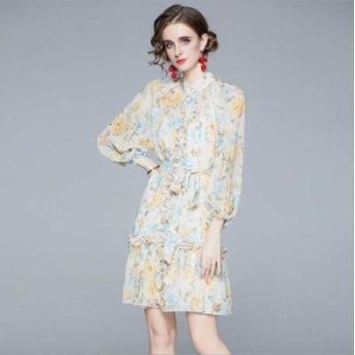 予約商品 大きいサイズ レディース フリル ゆったりパフスリーブ 花柄プリント ドレス ワンピースオーバーサイズ 韓国ファッション ビッ