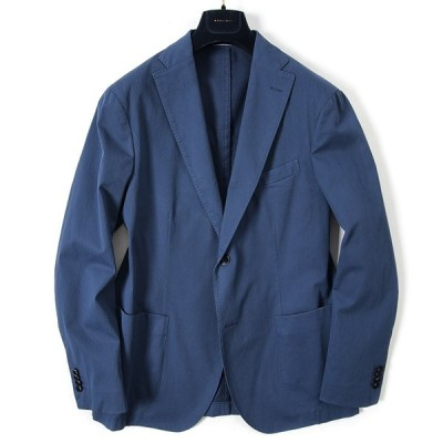 BOGLIOLI テーラード ジャケット 2Bシングル ストレッチ 春夏 メンズ コットン ブルー