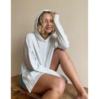 エイソス レディース パーカー・スウェット アウター ASOS DESIGN oversized cocoon hoodie in ice marl Ice marl