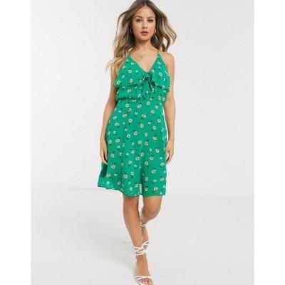 ジリ レディース ワンピース トップス Gilli ruffle front mini dress in green ditsy floral Kelly green