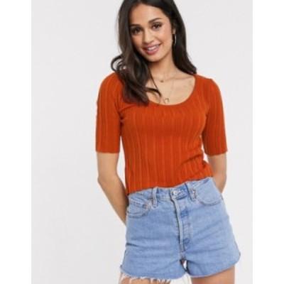 エイソス レディース ニット・セーター アウター ASOS DESIGN scoop neck jumper with short sleeve in orange Orange