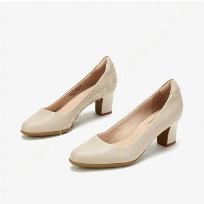 パンプス 歩きやすい レディース 靴 5.5cmヒール チャンキーヒール スリッポン コンフォートシューズ シンプル ラウンドトゥ パンプス クッション やわらかい