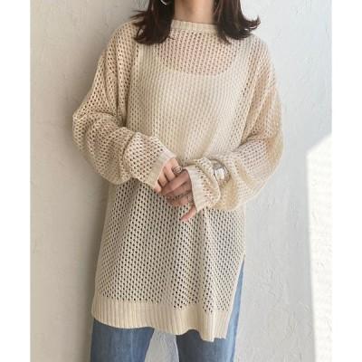 ニット メッシュ編み ニット  オーバーサイズ 長袖  透かし柄 ロング丈 チュニック